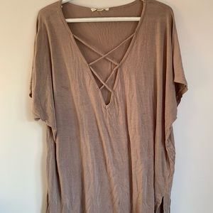 Brown Vneck Strappy T-shirt